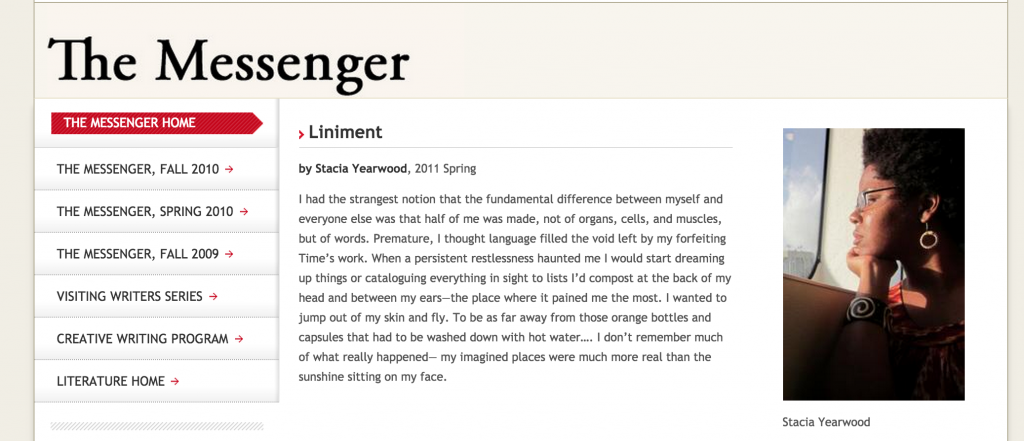 "Poem: ""Liniment"" published by The Messenger"