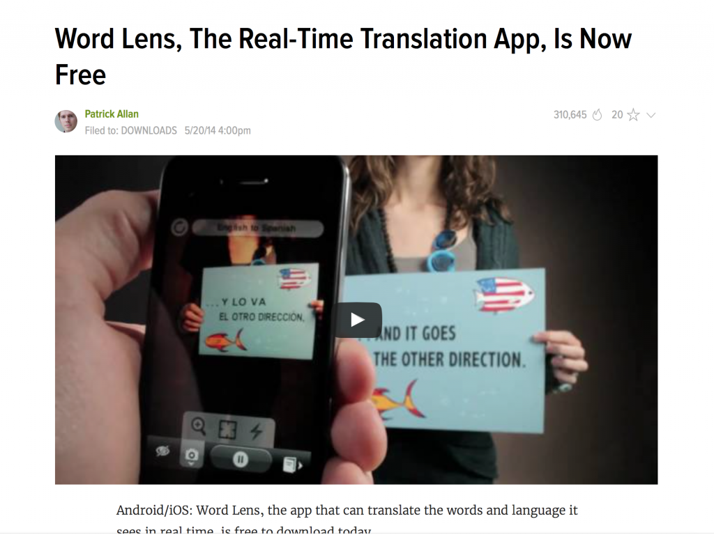 Word Lens, The Real-Time Translation App, Is Now Free! Download on Android and iOS and translate that sign you're standing confused in front of!