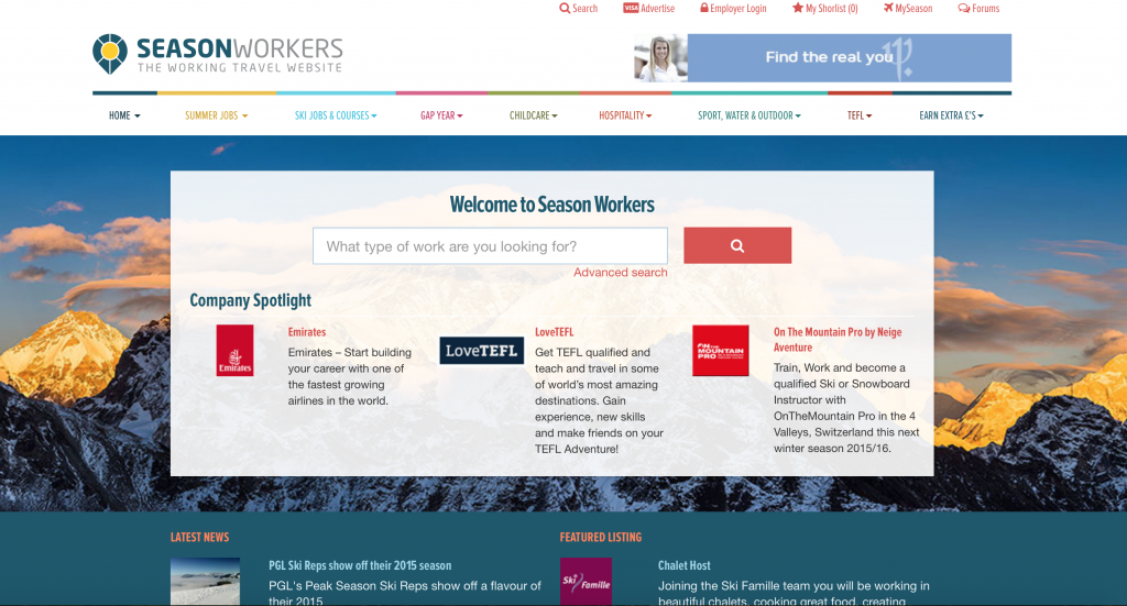 The No1 website for summer jobs, ski jobs, instructor courses, TEFL, Outdoor sports and gap year projects. Get news advice, meet and chat with other travellers.