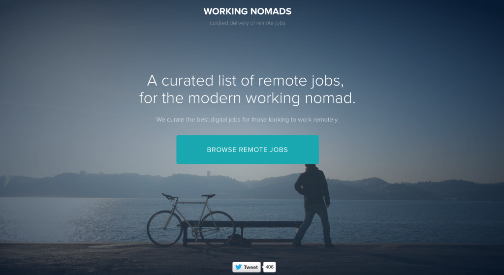 Working Nomads is a curated list of remote digital jobs, for the modern working nomad.