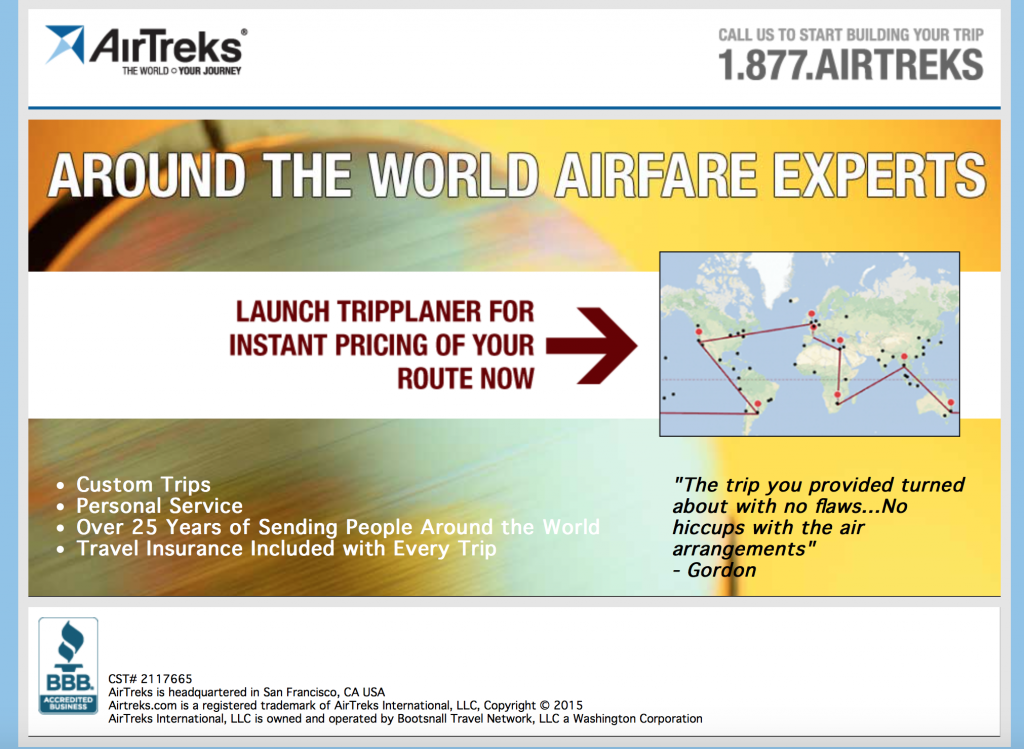 Are you an extreme planner? Would you like to have consecutive flights booked months ahead of time? Air Treks are THE around the world airfare experts!