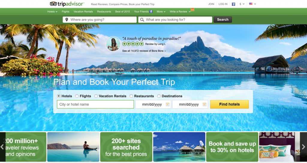 For deals and bundles on flight, vacation rentals, flight AND restaurants, Trip Advisor is the site for you!