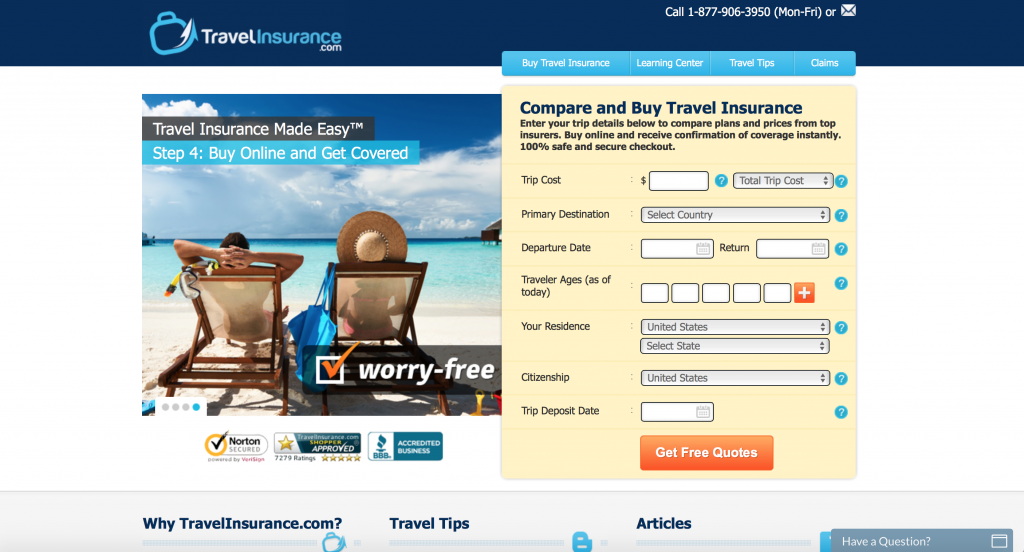 Use TravelInsurance.com to receive: Compare policies from top insurers, coverage in minutes, verified customer reviews, and 100% Safe & Secure checkout.