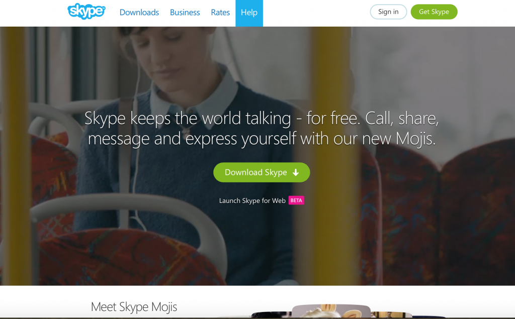 Skype keeps the travelling world talking - for free. Call, share, message and express yourself with our new Mojis. :)