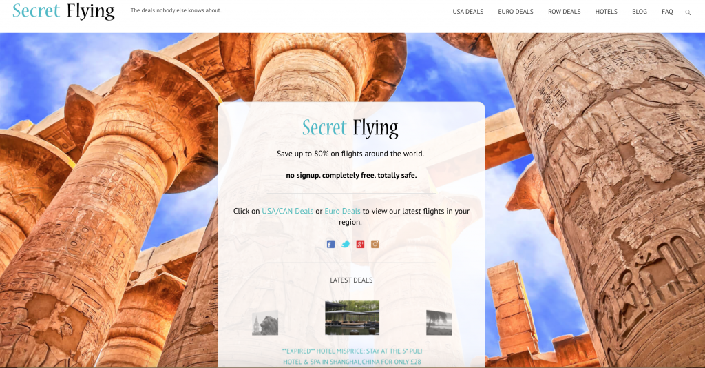 Secret Flying is for travelers by travelers! Save 80% on fights and MORE! Discover the deals that no one else knows about! :)