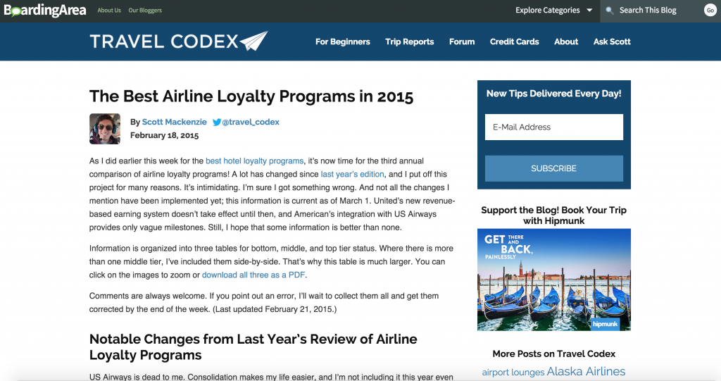 A CONVENIENT LIST of the BEST AIRLINE LOYALTY PROGRAMS for 2015 from the folks at Travel Codex! No one can tell you which program works best for you, but they surely make it easier to compare and decide! Download the PDF for easy tables. HAPPY FLYING! :)