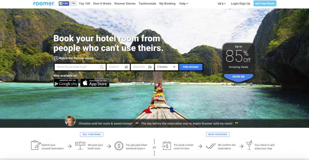 ROOMER invites you to BOOK your HOTEL ROOM when someone else CAN'T! You can FULFILL RESERVATIONS at a lower price (up to 70% off). What as STEAL of a DEAL -- you'd be crazy not to take ADVANTAGE! :)