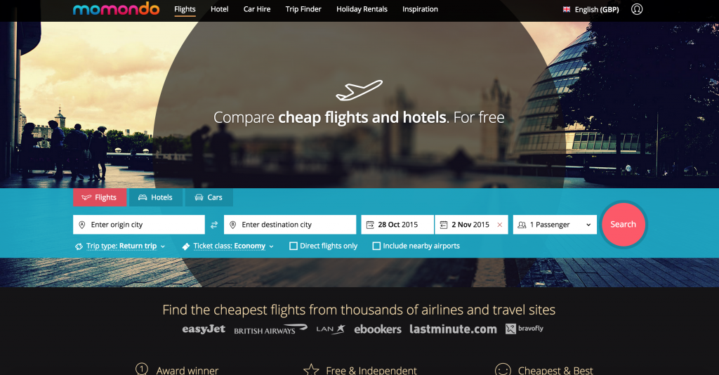 At Momondo they SEARCH ACROSS AIRLINES, TRAVEL SITES and LOW COST CARRIERS, find the BEST FLIGHTS tickets! With ONE CLICK you can see which ticket is the CHEAPEST, QUICKEST or BEST deal. All you have to do is CHOOSE and jet AWAY! :)