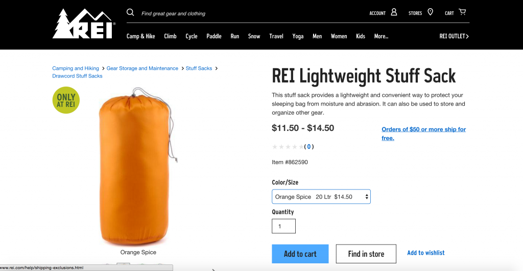 This LIGHTWEIGHT STUFFSACK by R.E.I is a WONDERFUL for SEPARATING and ORGANISING your GEAR and BELONGINGS inside your backpack or suitcase! COLOUR CODE your items and never be confused about where anything is again! :)
