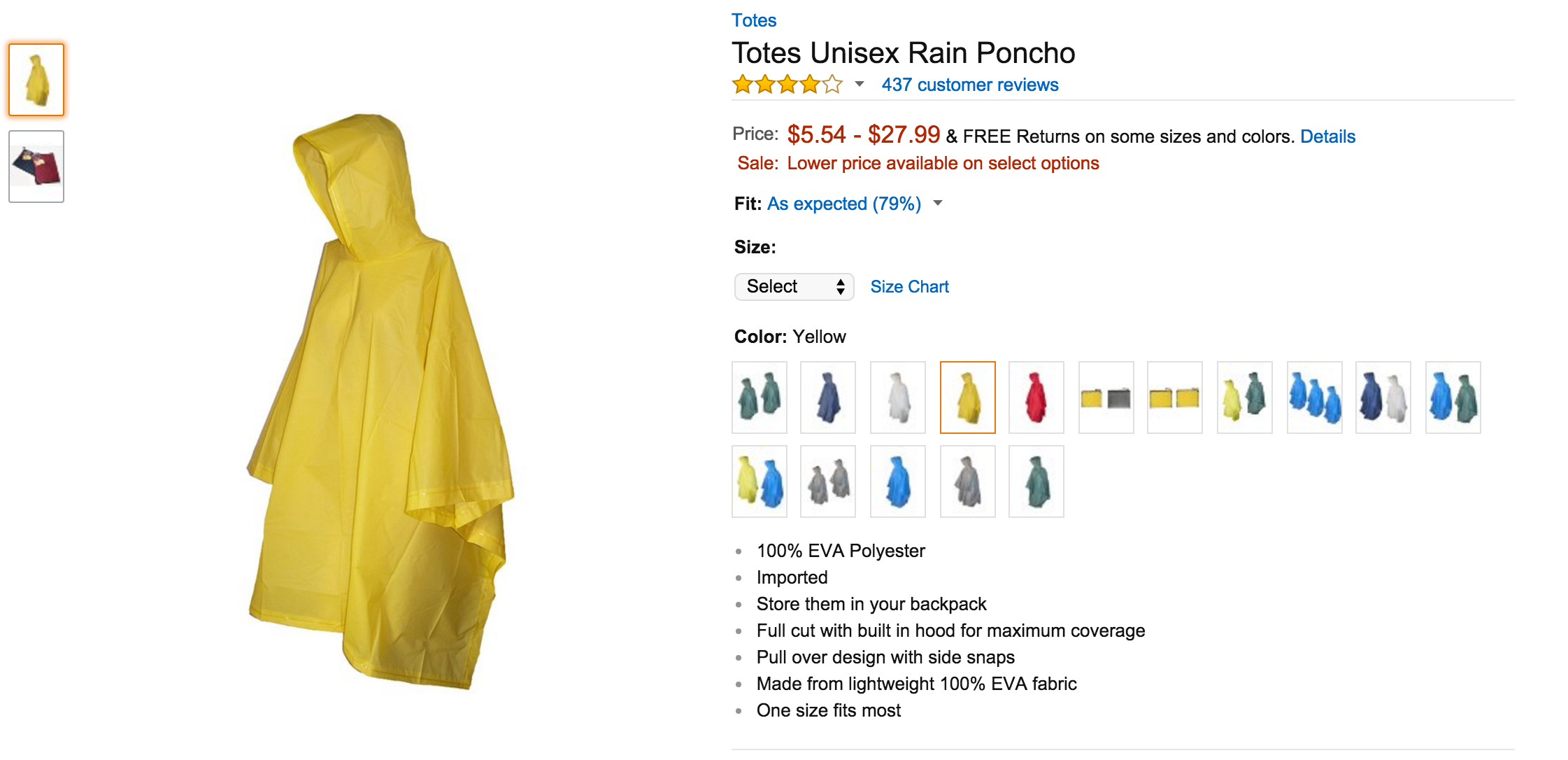 My mantra: BE PREPARED for ANYTHING! And that includes inclement weather! The RAIN PONCHO from Totes provide maximum coverage when you need it most. The lightweight EVA fabric makes them easy to slip on, and side snaps keep them securely in place. A pull over hood protects your head from unwanted rain drops. AND each poncho comes with its own mesh CARRY CASE. This can squeeze into any small space in your pack! :)