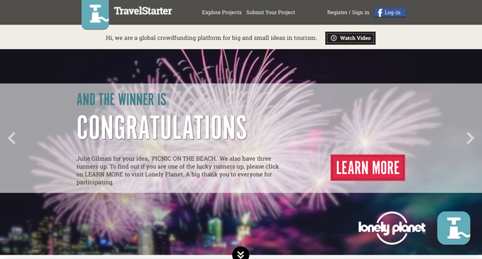TRAVELSTARTER is a global CROWDFUNDING platform for big and small IDEAS IN TOURISM. They SUPPORT individuals and local businesses by helping them raise funds for their TOURISM and TRAVEL RELATED PROJECTS! Yes, please! :)