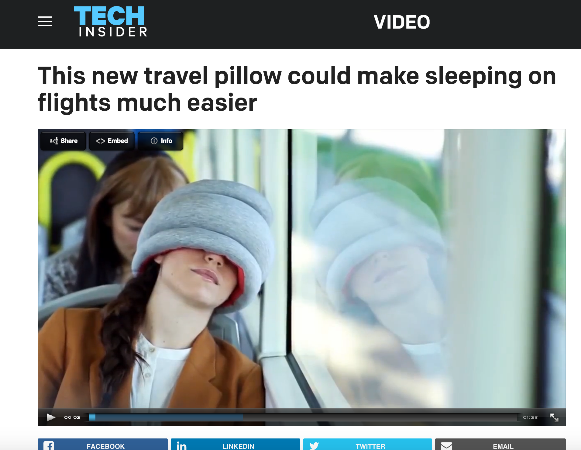 It's a known problem that 35% of people aren't getting enough sleep. One company hopes to change that by making naps more feasible throughout the day. Studio Banana Things, known for their outlandish Ostrich Pillow, has begun selling the Ostrich Pillow Light, a smaller and travel-sized version. The 360˚ pillow can cover your forehead, eyes, or neck to help you get that perfect snoozing angle.