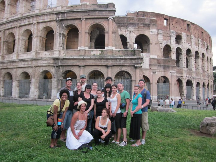 With a Topdeck tour group outside the Colosseum.