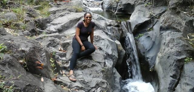 Akosua chillin' at the 'falls!