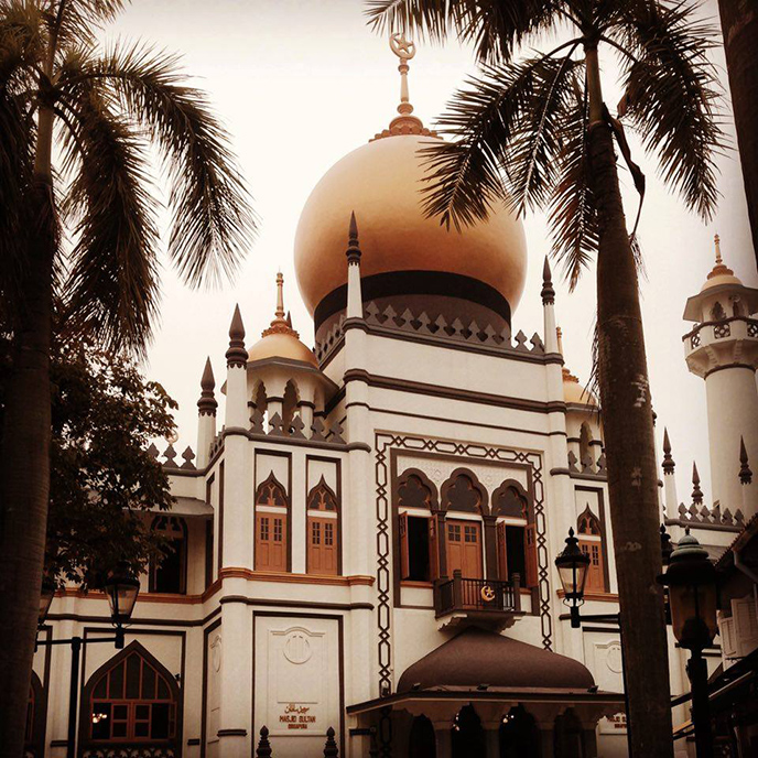 The golden dome of the Masjid Sultan.