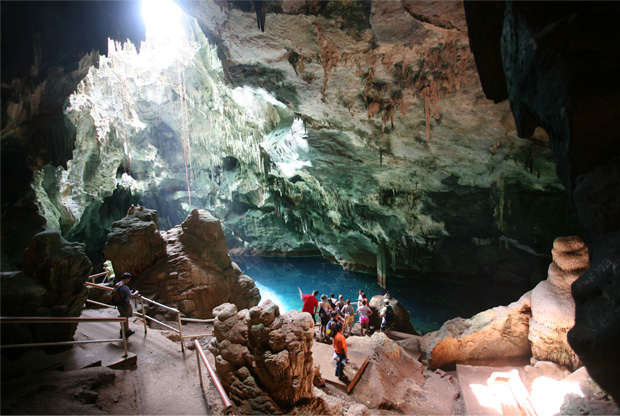 The number one destination for local and foreigners to visit is Gasparee Cave, situated at Point Baleine on the northeastern side of Gaspar Grande Island. Gasparee Caves, a natural limestone cave system with a mysterious pool at its base.Sea- water emerges through an underground source to create a translucent blue pond with a depth of 10-20 feet.